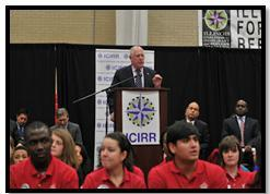 Governor Pat Quinn speaks during ICIRR Summit