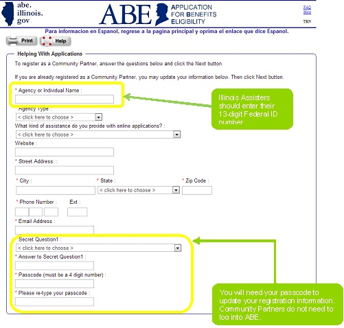 Register in ABE Screen 3
