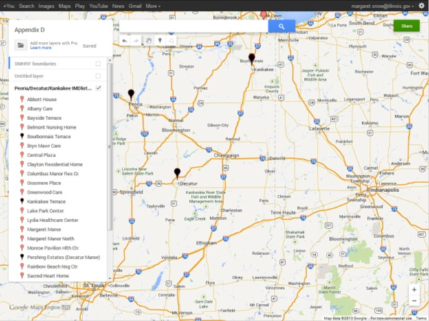 SMHRF Comparable Service area in Peoria, Deactur, Kankakee Map