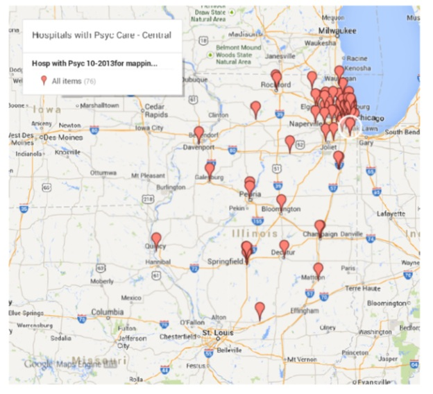 Appendix F Hospitals with Psyc Care in Central Illinois Area