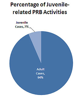 Percentage of Juvenile-related Patrol Review Board Activities Pie Chart