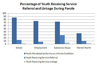 Percent of Youth Receiving Service Referal and Linkage Column Chart