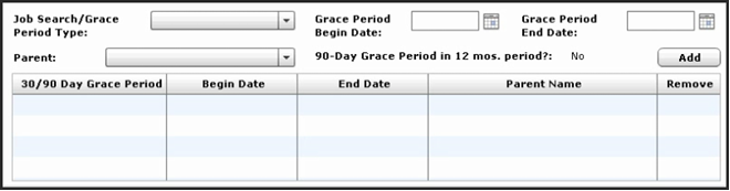 Case Info page, where to record grace period information.