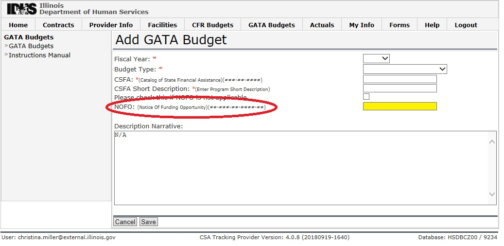 screenshot of csa system budget page