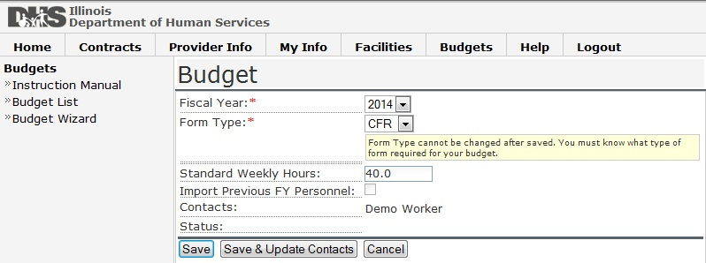 Screen shot of Budget CFR Form Type