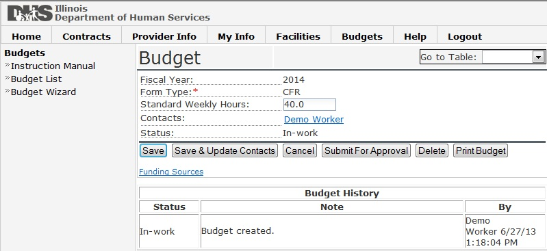 Screen shot of Budget Submission