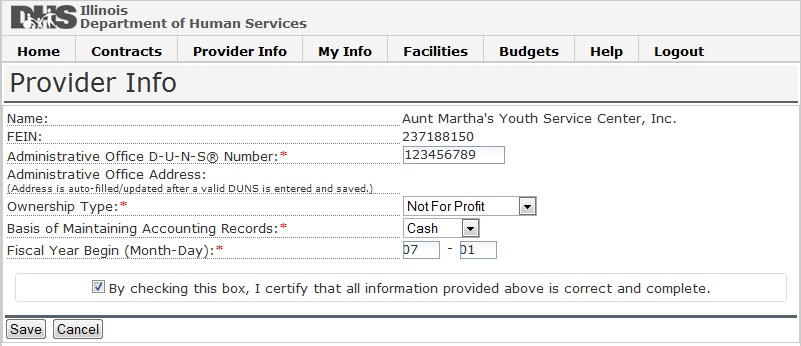 Screen shot of Provider Information