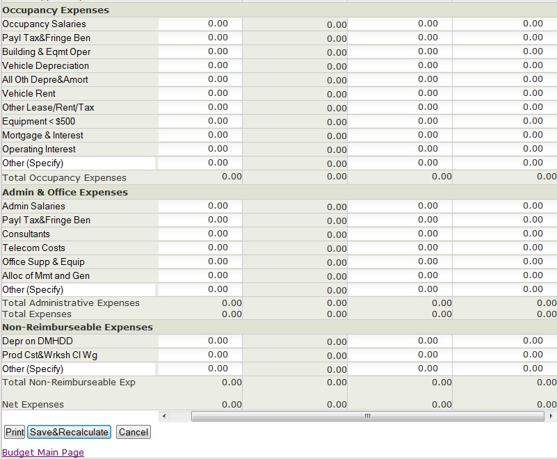 Schedule of Program Costs Screen 2
