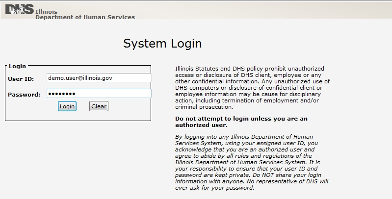 Screen shot of CSA System Login