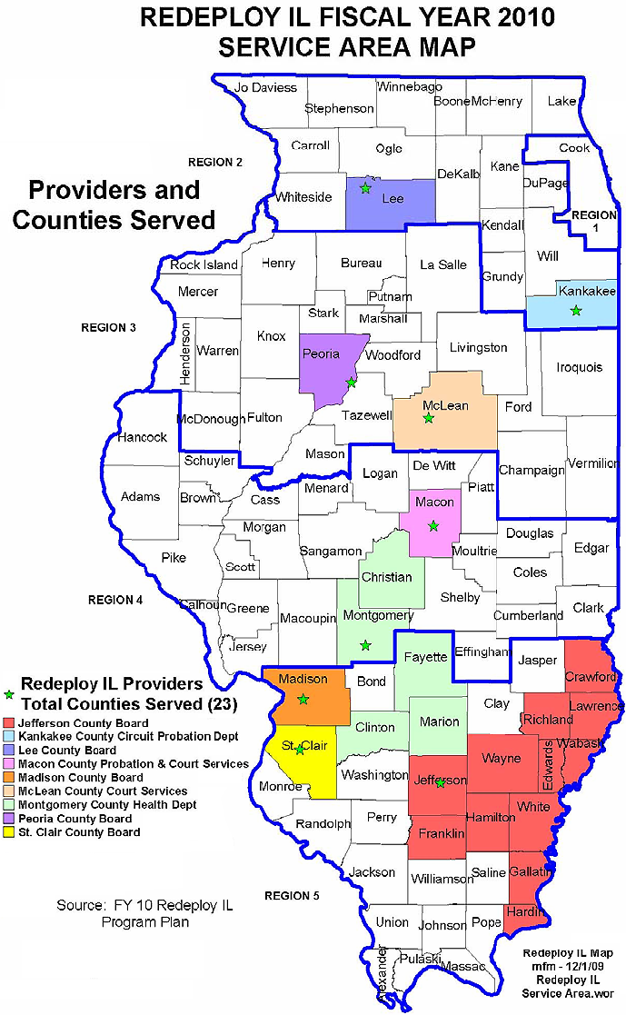 DHS Map Of Redeploy Illinois Sites - Map of the state of illinois