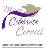October is Domestic Violence Awareness Month Gray Dove with Purple Ribbon