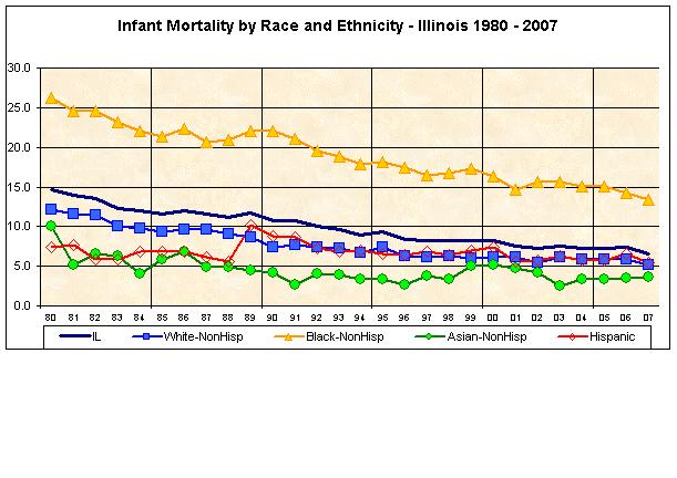 Infant Mortality by Race and Ethnicity - Illinois 1980-2007