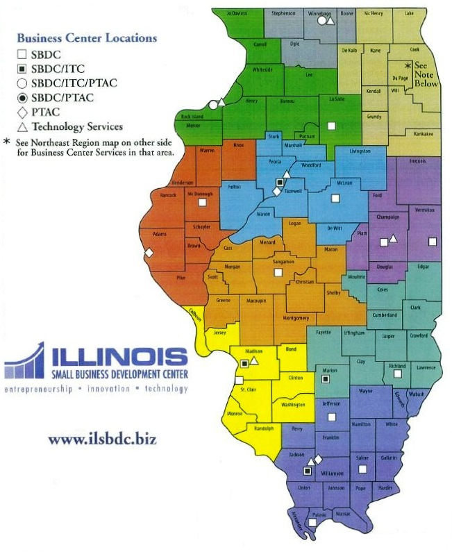 Illinois Small Business Development Center Locations map