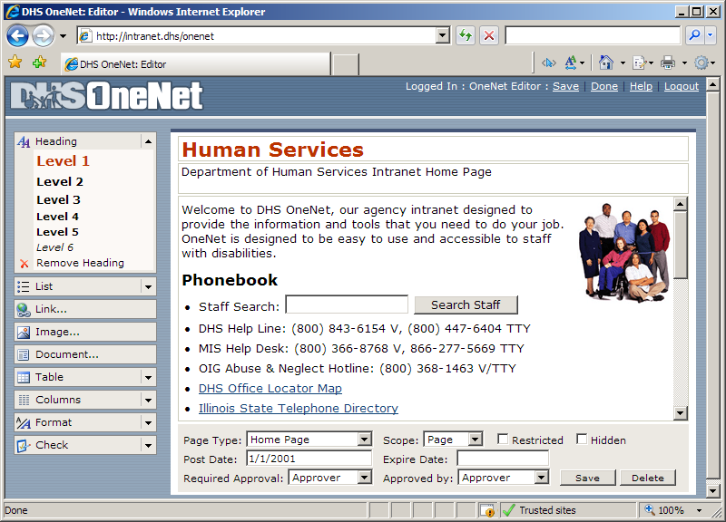 Screen shot of the OneNet Editor showing the WYSIWYG editing area along with menus for Headings, Lists, Links, Images, Tables, and more.