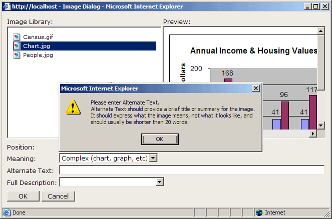 Screen shot of the OneNet Image Dialog prompting and explaining how to enter appropriate alternate text.