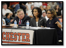 Alan Rogers, Michelle R.B. Saddler and Lorrie Rickman Jones testify Oct. 12 at Chester High School