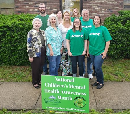 Saline County staff wearing green for Mental Health Awareness Month