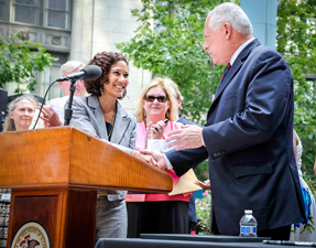 DHS Secretary Michelle R.B. Saddler and Gov. Quinn