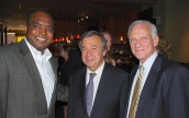 Edwin Silverman (right) at the World Regfugee Day last year with Alie Kabba, United African Organization (left) and Antonio Guterres, United Nations High Commissioner for Refugees (center)