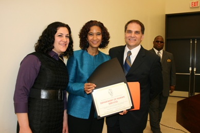 Pictured are left to right: Anna D'Ascenzo, Civil Affairs Bureau Chief & Chief EEO officer, DHS Secretary Michelle R.B. Saddler, ICED co-chair & Rocco Claps, Dept. of Human Rights & ICED co-chair