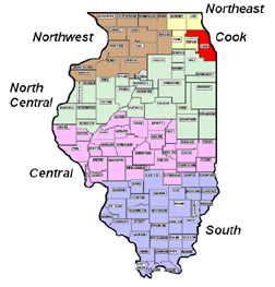 State of Illinois Map with counties outlined and areas shaded to represent the Bureaus. Seperation listed below in text.