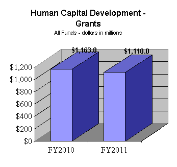 Human Capital Development - Grants All Funds (dollars in millions) - FY10: $1,163.0; FY11: $1,110.0