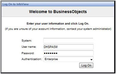 Sample of an InfoView Log-In Screen Enter System, User Name Password and Authentication