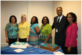 Estela Tuczi, Sonia Lopez, Diretha Jennings, Phyllis Baxter, Daniel Williams join Secretary Saddler in celebrating the new look and process at the DuPage FCRC.