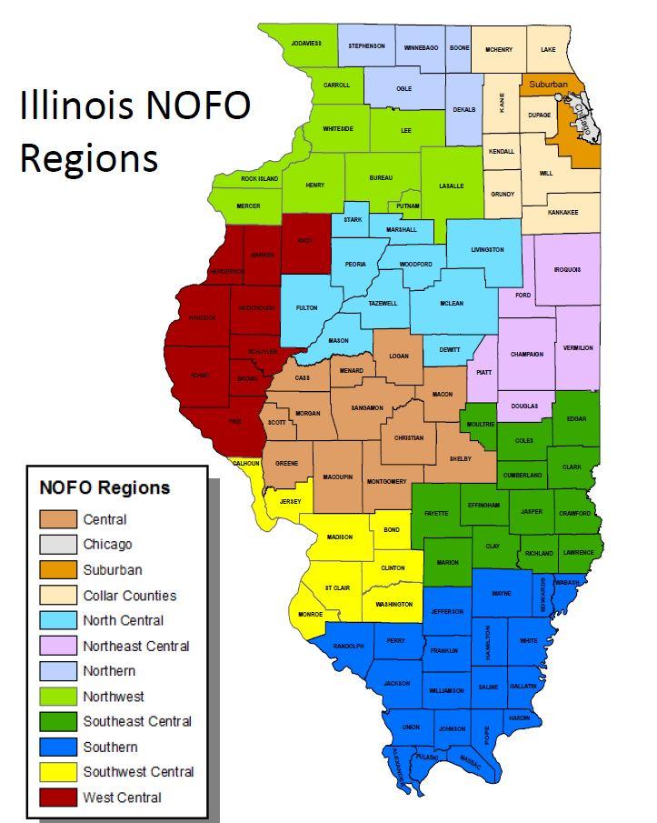 IDHS: Appendix I - Illinois Census Office Region Map on illinois department of public health regions, illinois dhs region map, chicago region, illinois state region,